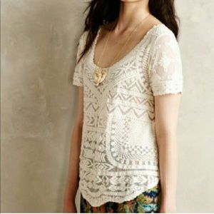 Anthro Meadow Rue Cream Lace Blouse